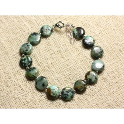 Bracelet Argent 925 et Pierre semi précieuse - Turquoise Africaine Palets 10mm