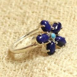 N113 - Bague Argent massif 925 et Pierre - Lapis Lazuli et Turquoise Fleur 15mm