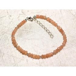 Bracelet Argent 925 et Pierre - Pierre de Lune rose orange rondelles facettées 3mm