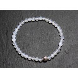 Bracelet Pierre semi précieuse Agate Blanche 4mm et Perle argentée