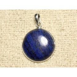 N38 - Pendentif Argent 925 et Pierre - Lapis Lazuli Rond 25mm