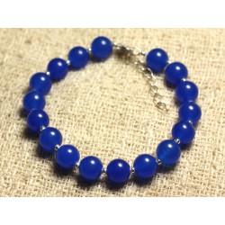 Bracelet Argent 925 et Pierre - Jade Bleue 8mm