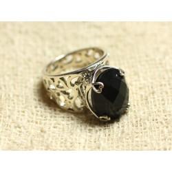 n111 - Bague Argent 925 et Pierre - Onyx Noir Ovale Facetté 16x12mm