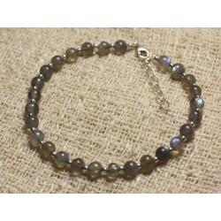 Bracelet Argent 925 et Perles de Pierre Labradorite Boules 4-5mm