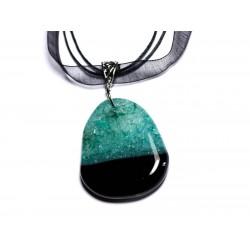 N8 - Collier Pendentif en Pierre - Agate noire et Quartz Turquoise Goutte 47mm