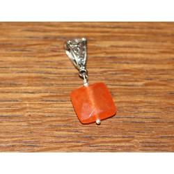 Pendentif Pierre semi précieuse - Jade Orange Carré Facetté 14mm