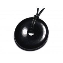 Collier Pendentif en Pierre - Obsidienne Noire Donut Pi 40mm