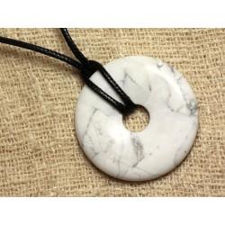 Collier Pendentif en Pierre - Howlite Donut Pi 40mm