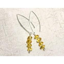 Boucles d'oreilles argent 925 Longs crochets et Ambre naturelle Miel Rondelles 6-7mm
