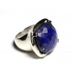 n110 - Bague Argent 925 et Pierre - Lapis Lazuli Facetté Carré 18mm