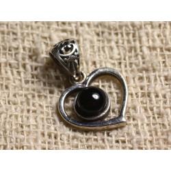 Pendentif Argent 925 Coeur 16mm et Pierre semi précieuse - Onyx noir 6mm