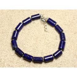Bracelet Argent 925 et Pierre - Lapis Lazuli Tubes 10mm
