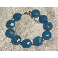 Bracelet Argent 925 et Pierre - Jade Bleue Palets Facettés 14mm