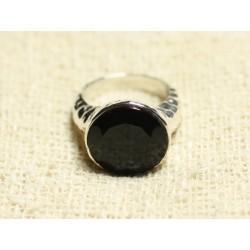 N120 - Bague Argent 925 et Pierre - Onyx noir Facetté Rond 15mm