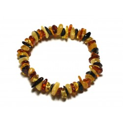 Bracelet Elastique Enfant - Ambre naturelle Chips 5-8mm Multicolore