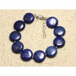 Bracelet Argent 925 et Pierre - Lapis Lazuli Palets 14mm