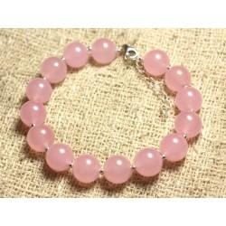 Bracelet Argent 925 et Pierre - Jade Rose 10mm