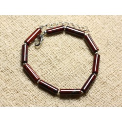 Bracelet Argent 925 et Pierre - Jaspe Rouge Poppy Tubes 13mm