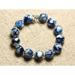 Bracelet Argent 925 Nacre et Résine 10mm Bleu et Blanc