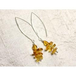 Boucles d'oreilles argent 925 Longs crochets et Ambre naturelle Miel 7-12mm