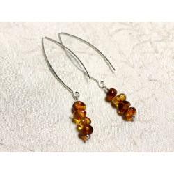 Boucles d'oreilles argent 925 Longs crochets et Ambre naturelle Rondelles 5-7mm