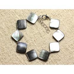 Bracelet Argent 925 et Nacre Noire Losanges 16mm