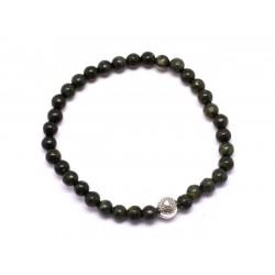 Bracelet Pierre semi précieuse Serpentine 4mm et Perle argentée