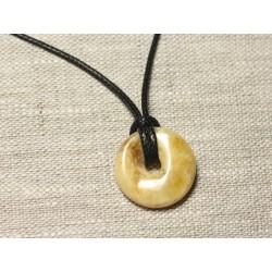 N3 - Collier Pendentif Pierre Ambre naturelle Donut Pi 22mm