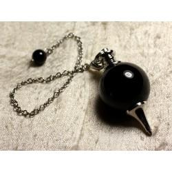 Pendule Métal Argenté Rhodium et Pierre semi précieuse - Agate noire Boule 25mm