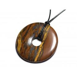 Collier Pendentif en Pierre - Oeil de Tigre Donut Pi 60mm