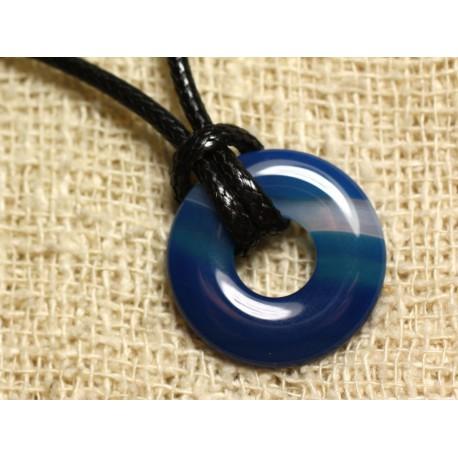 Collier Pendentif en Pierre - Agate Bleue Donut 20mm