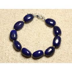Bracelet Argent 925 et Pierre - Lapis Lazuli Olives 12mm