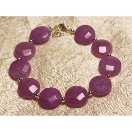 Bracelet Argent 925 et Pierre - Jade Violet Rose Palets Facettés 14mm