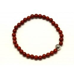 Bracelet Pierre semi précieuse Jaspe Rouge 4mm et Perle argentée
