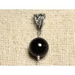 Pendentif Pierre semi précieuse et Rhodium - Onyx Noir 14mm