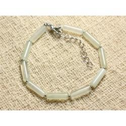 Bracelet Argent 925 et Pierre - Jade vert clair Tubes 13x4mm