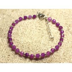 Bracelet Argent 925 et Pierre - Jade Violet Rose Fuchsia Facettée 4mm