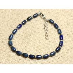 Bracelet Argent 925 et Pierre - Lapis Lazuli Olives 6mm
