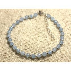 Bracelet Argent 925 et Pierre - Jade Facettée 4mm Bleu clair