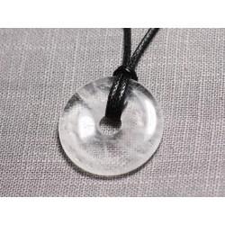 Collier Pendentif en Pierre - Cristal de Roche Quartz Donut Pi 30mm