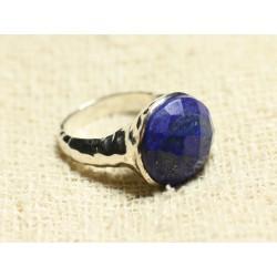 N120 - Bague Argent 925 et Pierre - Lapis Lazuli Facetté Rond 15mm