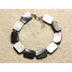 Bracelet Argent 925 et Nacre Noire Rectangles 14x10mm