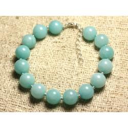 Bracelet Argent 925 et Pierre - Jade Bleu Turquoise 10mm