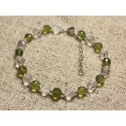 Bracelet Argent 925 Perles de Pierre Péridot et Cristal Facettés 6mm
