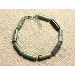 Bracelet Argent 925 et Pierre semi précieuse - Turquoise Africaine Tubes 15mm