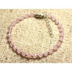 Bracelet Argent 925 et Pierre - Jade Facettée 4mm Rose clair