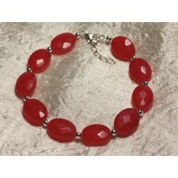 Bracelet Argent 925 et Pierre - Jade Rouge Ovales Facettés 14x10mm
