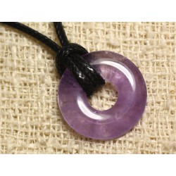 Collier Pendentif en Pierre - Améthyste Donut 20mm