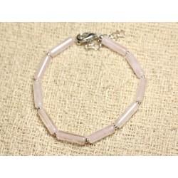 Bracelet Argent 925 et Pierre - Quartz Rose Tubes 13mm