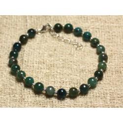 Bracelet Argent 925 et Perles de Pierre Apatite 6mm